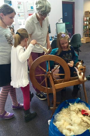 Learning to use a spinning wheel